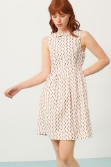 Pearle Peter Pan collar dress in cream and abstract print