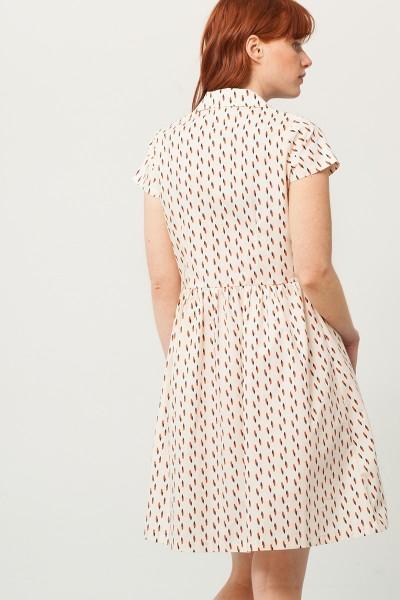 Vestido Pamela cuello camisero crudo estampado abstracto