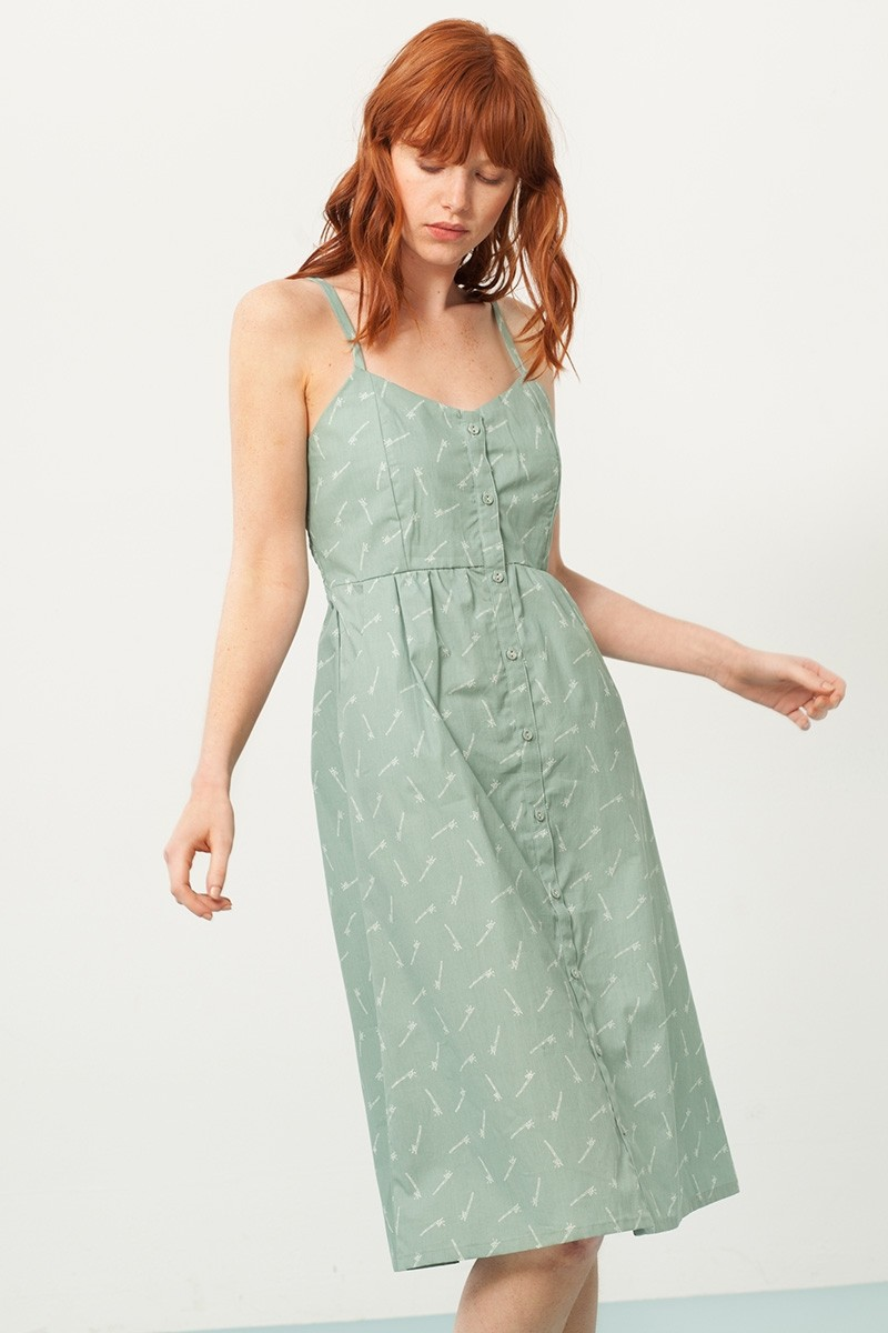 Vestido Prya tirantes verde estampado bambú