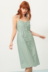 Prya strapless dress ingreen and bambu print