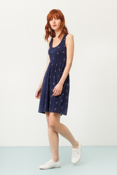 Pixi empire line dress in navy blue and origami print