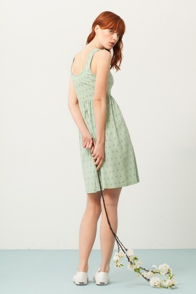 Pixi empire line dress in gren mint and abstract print