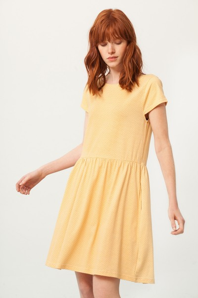 Paris oversize back neckline dress in honey yellow and japanese print