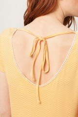 Vestido París oversize marillo estampado abanicos