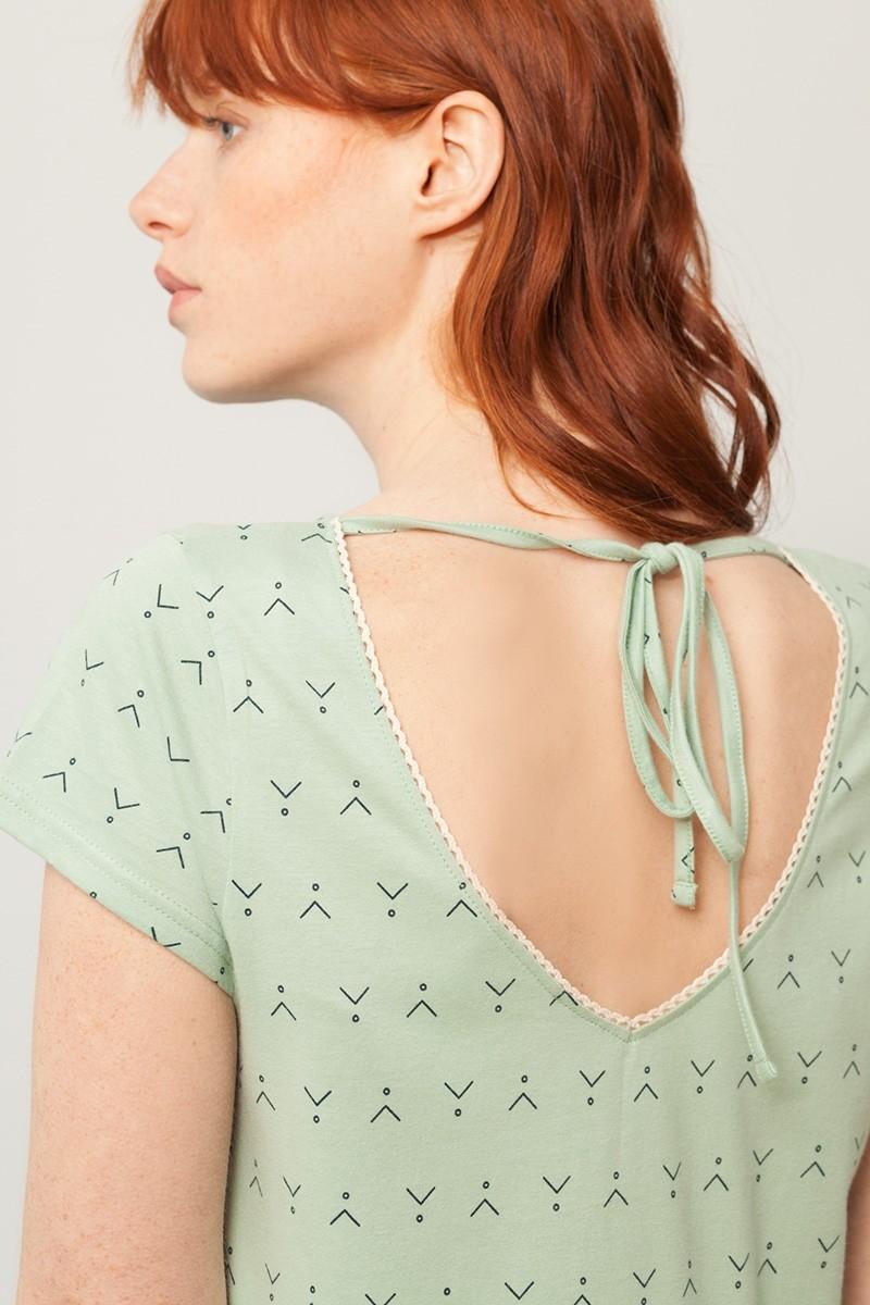 Vestido París oversize verde menta estampado abstracto