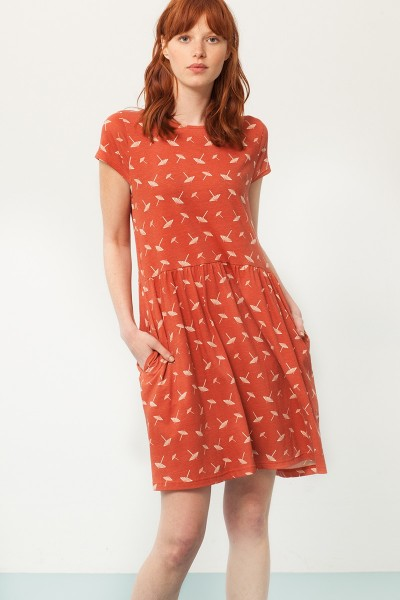 Paris oversized back neckline dress in terracotta and umbrella print