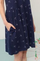 Vestido Priscila azul marino estampado origami