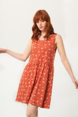 Priscila oversized dress in terracotta and umbrella print