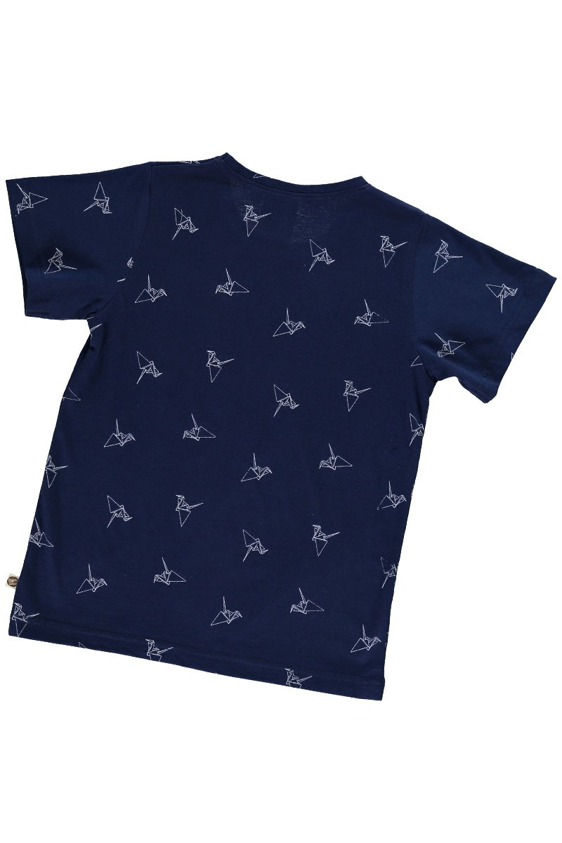 Camiseta unisex azul marino estampado origami