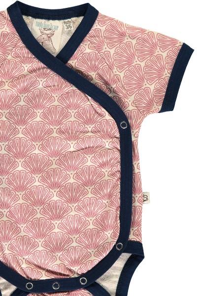 Body kimono salmón estampado abanico japonés