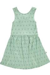 Vestido espalda cruzada verde menta estampado abstracto