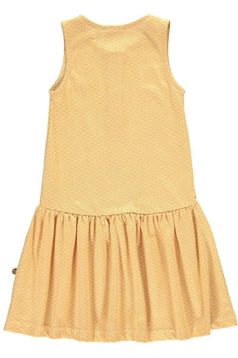 Vestido Charlestón color miel estampado japonés