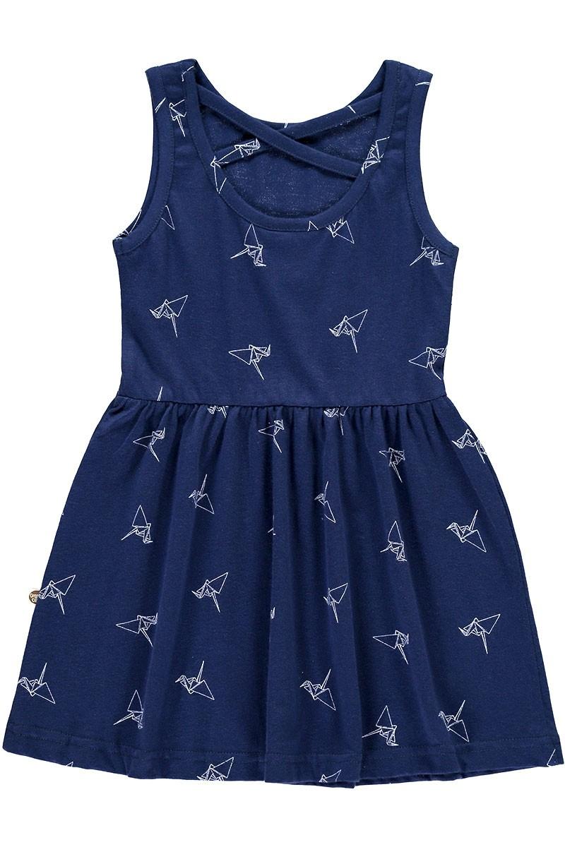 Vestido de tirantes azul marino estampado origami