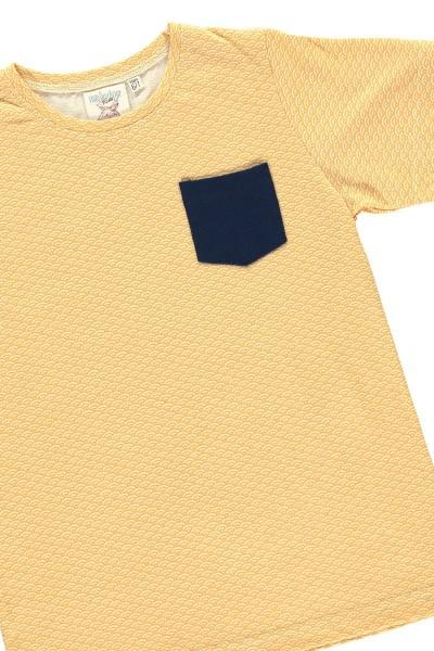 Organic unisex t-shir in honey yellow and japanese print