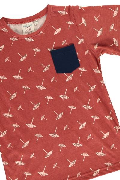 Organic unisex t-shirt in terracotta and umbrella