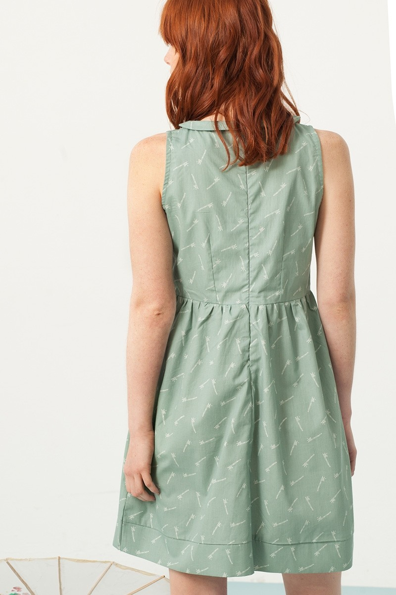 Pearle Peter Pan collar dress in green and bambu print