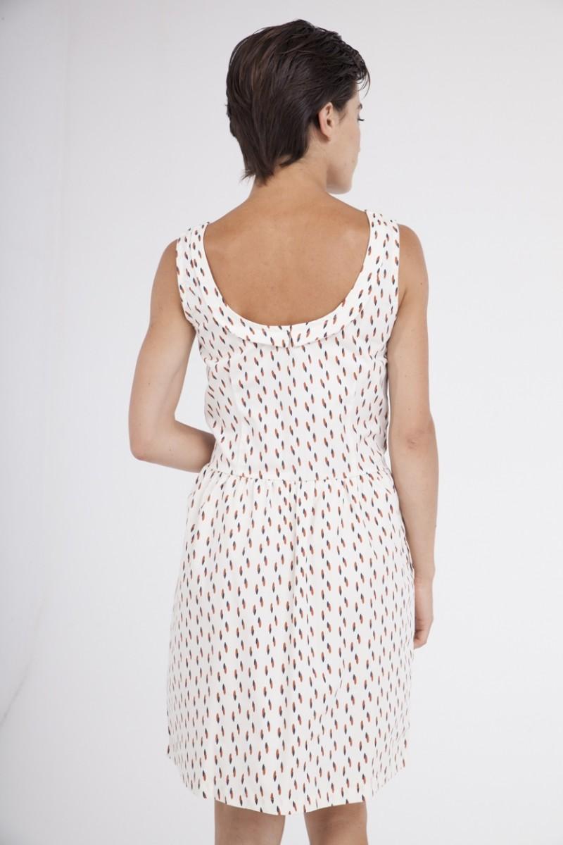 Vestido Padme escote espalda crudo estampado abstracto