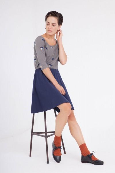 Vestido Carol manga ranglán color gris/azul marino.
