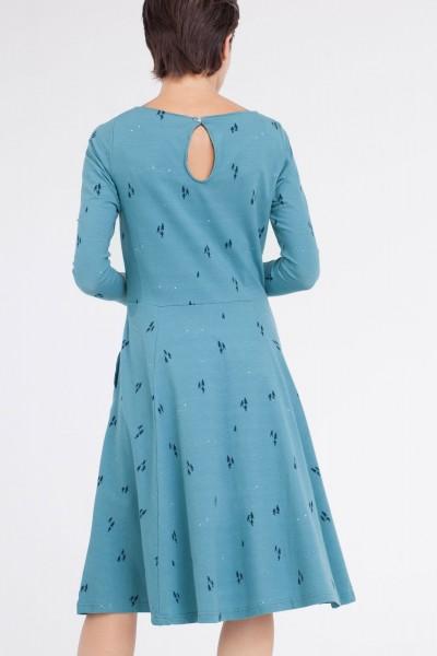 Vestido Corine falda evasé  azul ópalo.