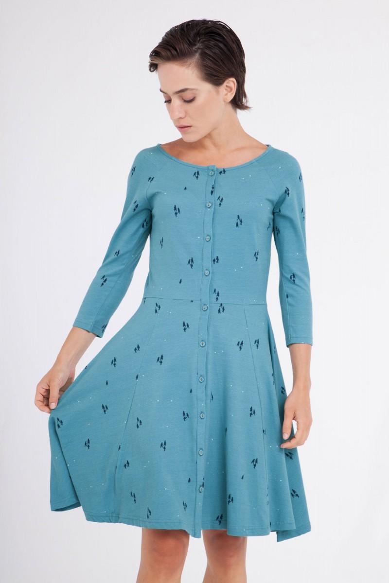 Vestido Celine manga ranglán azul ópalo.