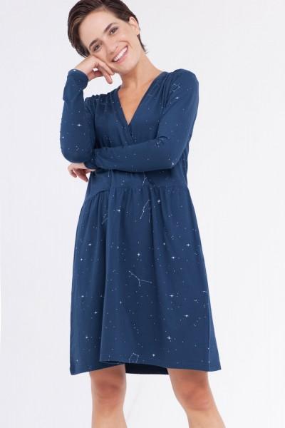 Vestido Camile oversize cruzado estampado constelaciones.