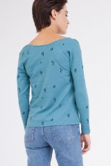 Camiseta Claudia manga ranglán azul ópalo.