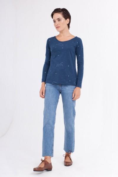 Camiseta Claudia manga ranglán estampado constelaciones.