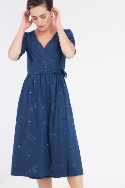 Vestido Cristina cruzado azul marino estampado constelaciones.