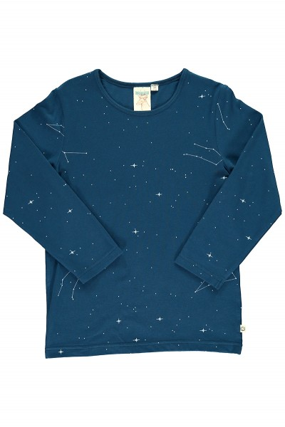 Unisex long sleeve t-shirt in navy blue and constallations print