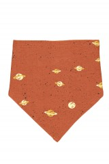 Reversible Bib in terracotta with Saturn print