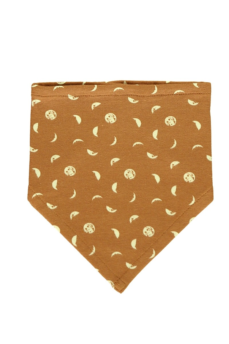 Reversible Bib in mustard and moon phases print