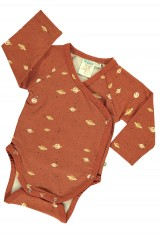 Baby Body kimono in terracotta and Saturn print