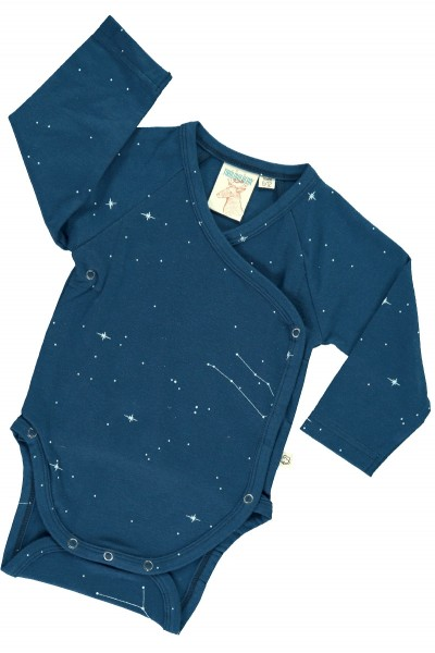 Baby Body kimono in navy blue and constallations print