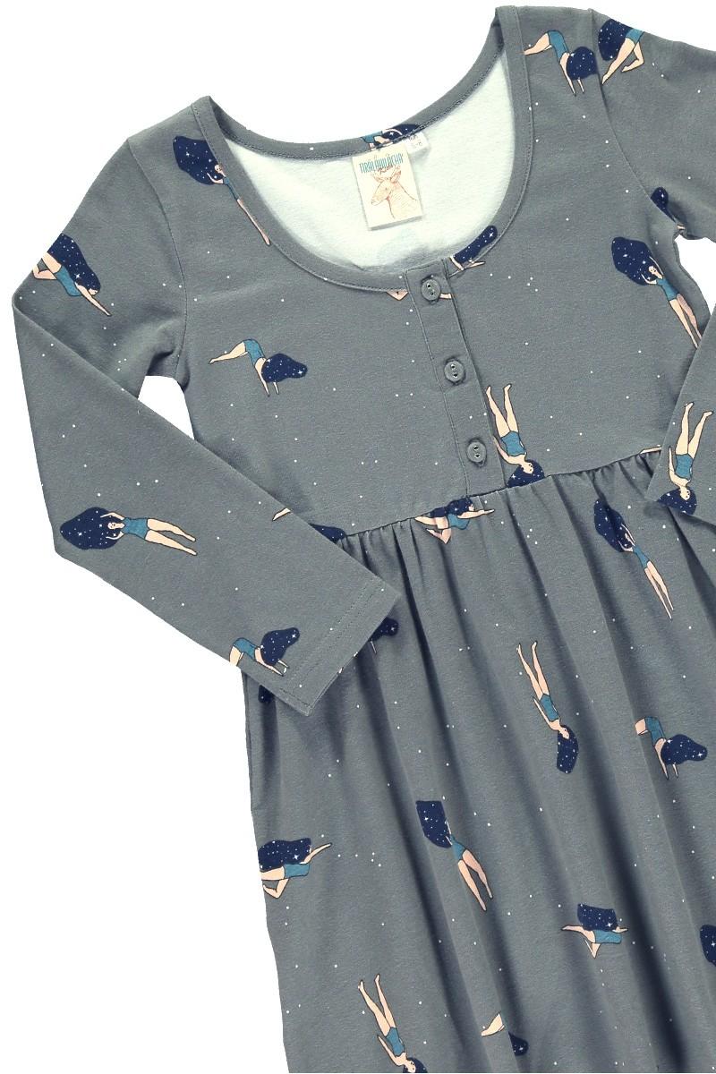 """Vestido """"Clasic"""" color gris con estampado de """"Bailando en el cosmos"""""""