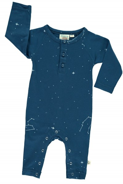 Mono manga larga azul marino con estampado constelaciones