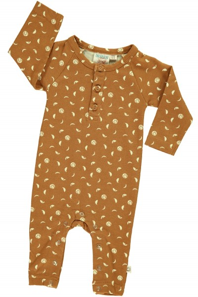 Baby long sleeve jumpsuit in mustard and moon phases print