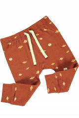 Baby pant in terracotta and Saturn print