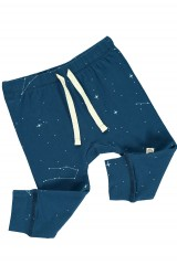 Baby pant in navy blue and constallations print