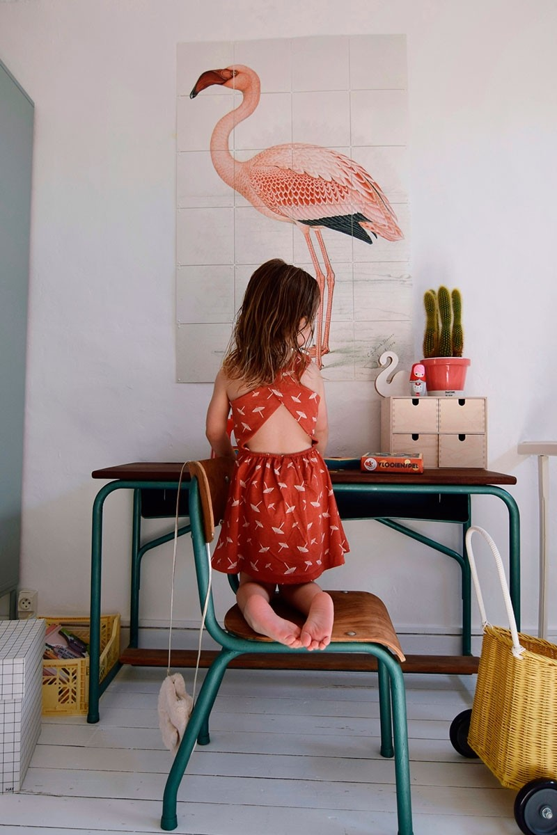 Organic cross back dress in terracotta and umbrella print