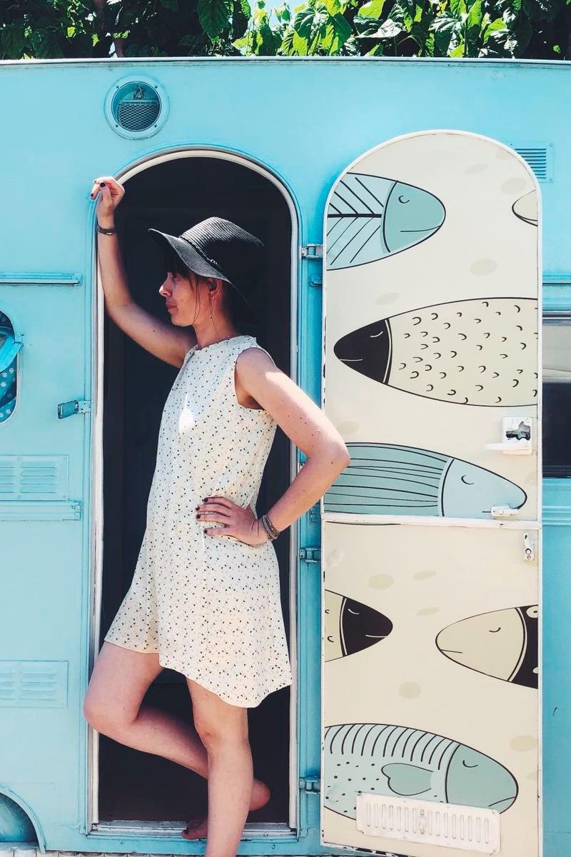 Itati flared dress in triangles print