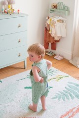 Organic baby jumsuit in mint green and abstract print