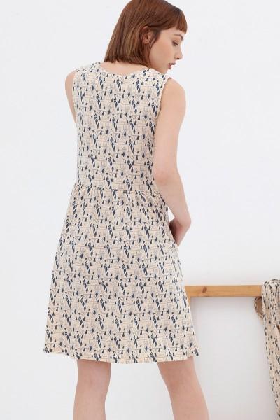 Vestido holgado ecru-blue Ana