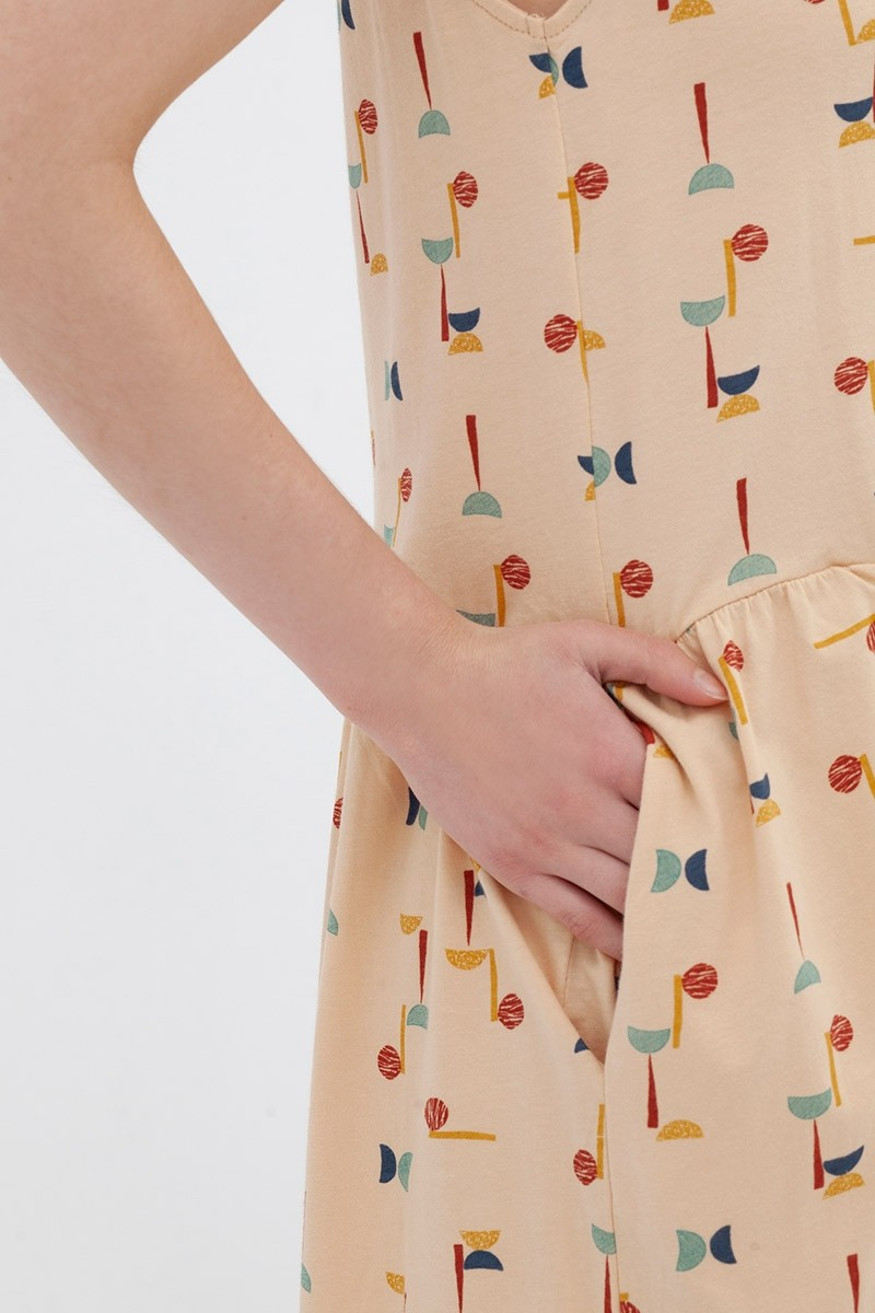 Vestido cuello V abstract print Andrea