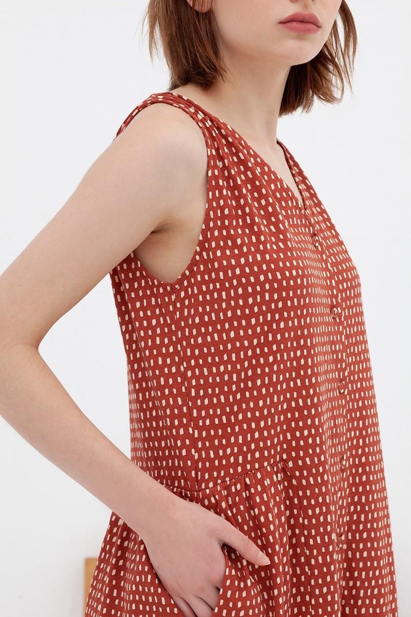 Vestido cuello V teja Andrea