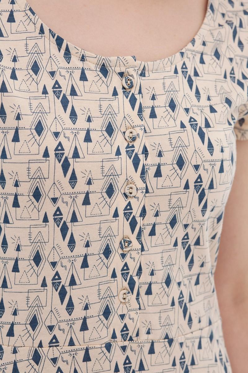 Vestido media capa ecru-blue Ara