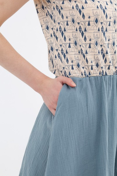 Vestido combinado azul Anaïs