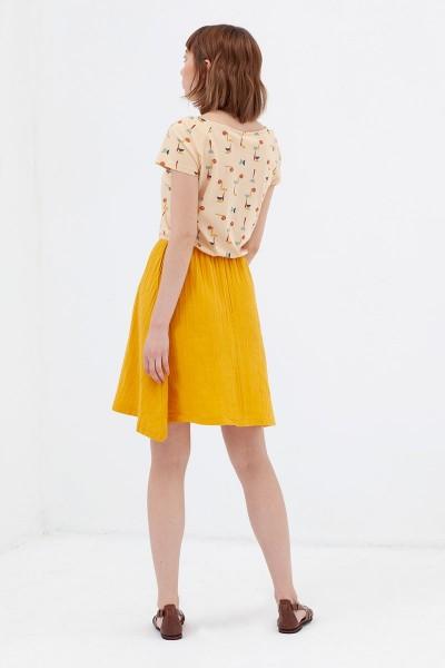 Vestido combinado mostaza Anaïs