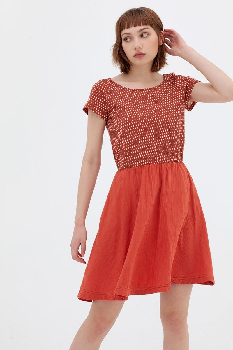 Vestido combinado teja Anaïs