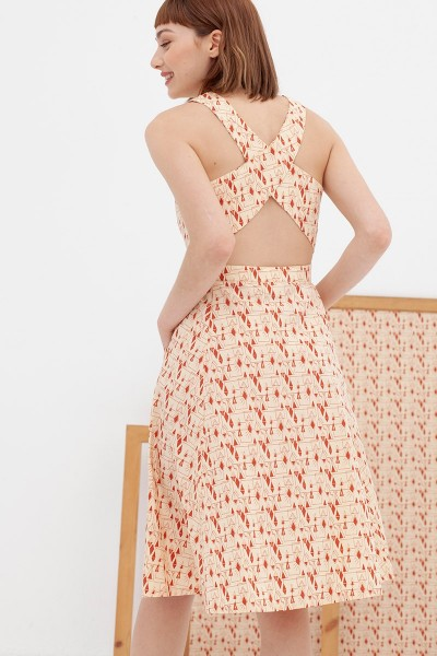 Vestido espalda cruzada teja Aitana
