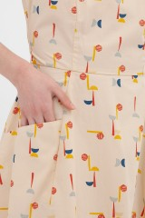 Vestido espalda cruzada teja Aitana abstract print